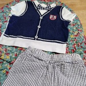 Little Me Nautical set and Red polo